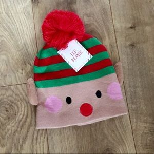 Accessories - Christmas Stripe Holiday Elf Pom Beanie Hat NWT